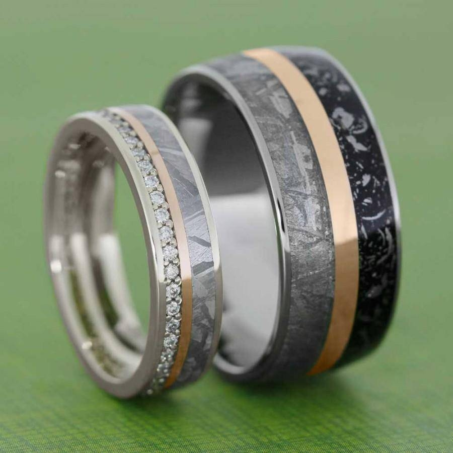 Meteorite Wedding Band Set With Rose Gold Pinstripes, Womens Throughout Black Titanium Wedding Bands Sets (Gallery 15 of 15)