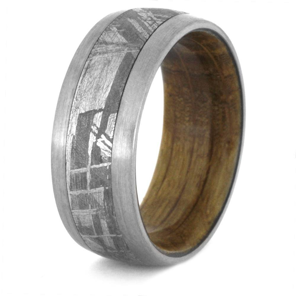 Meteorite Wedding Band With A Whiskey Barrel Wood Sleeve 3430 Inside Men's Wedding Bands Meteorite (View 8 of 15)