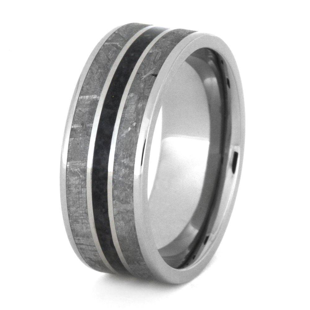 Meteorite Wedding Band With Crushed Onyx, Mens Titanium Ring 3359 Intended For Onyx Wedding Bands (Gallery 4 of 15)