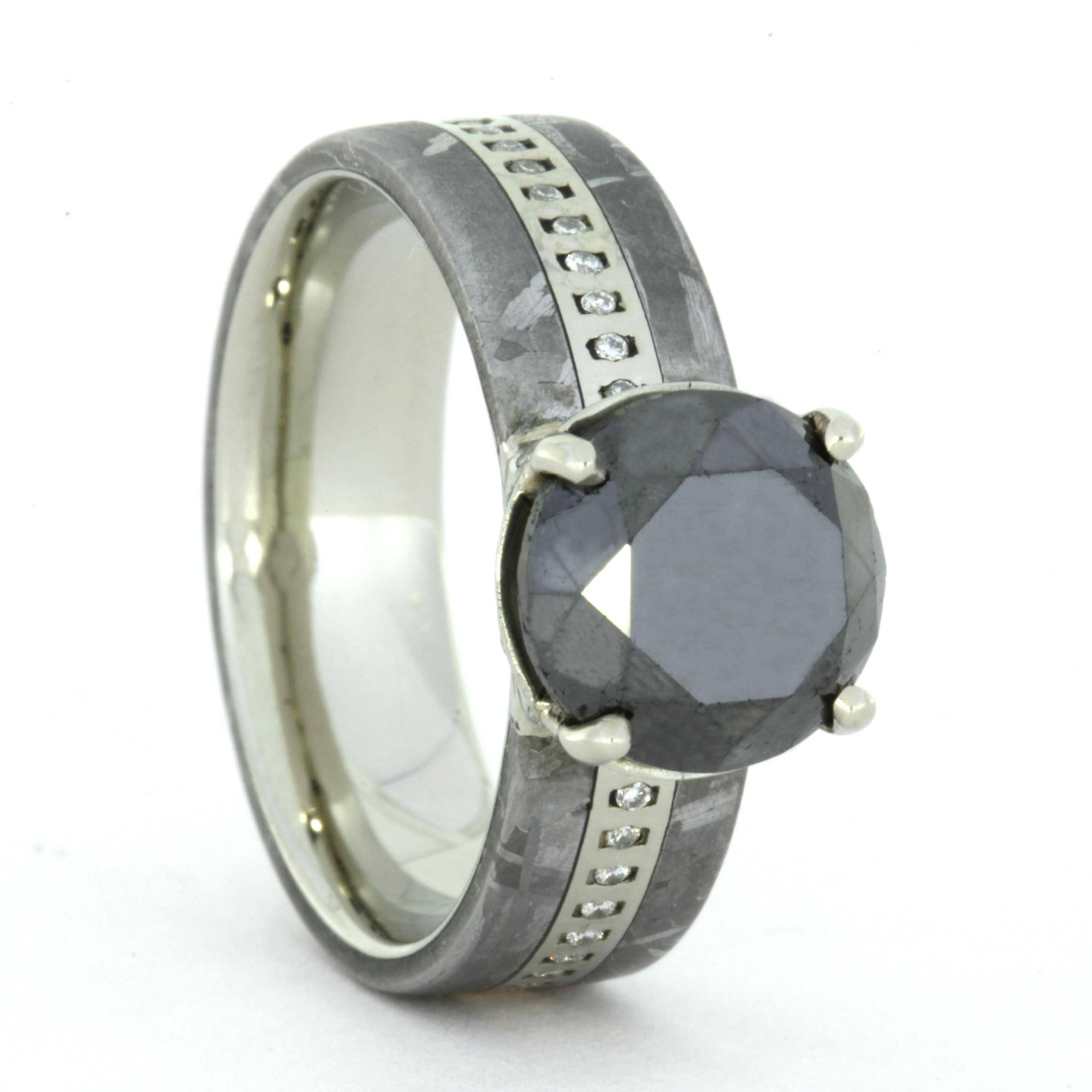 Meteorite Wedding Ring Set, Black Diamond & Wedding Band Inside Men's Wedding Bands Meteorite (View 8 of 15)
