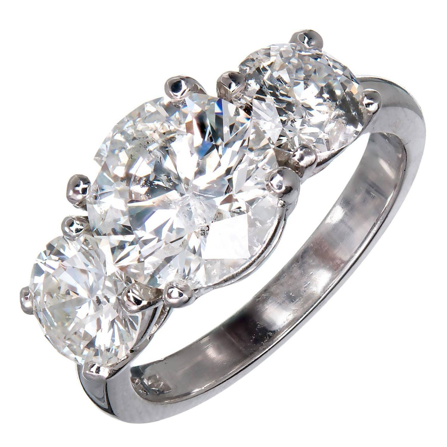 Mg Three Stone Diamond Platinum Engagement Ring For Sale At 1stdibs In New Age Engagement Rings (View 5 of 15)