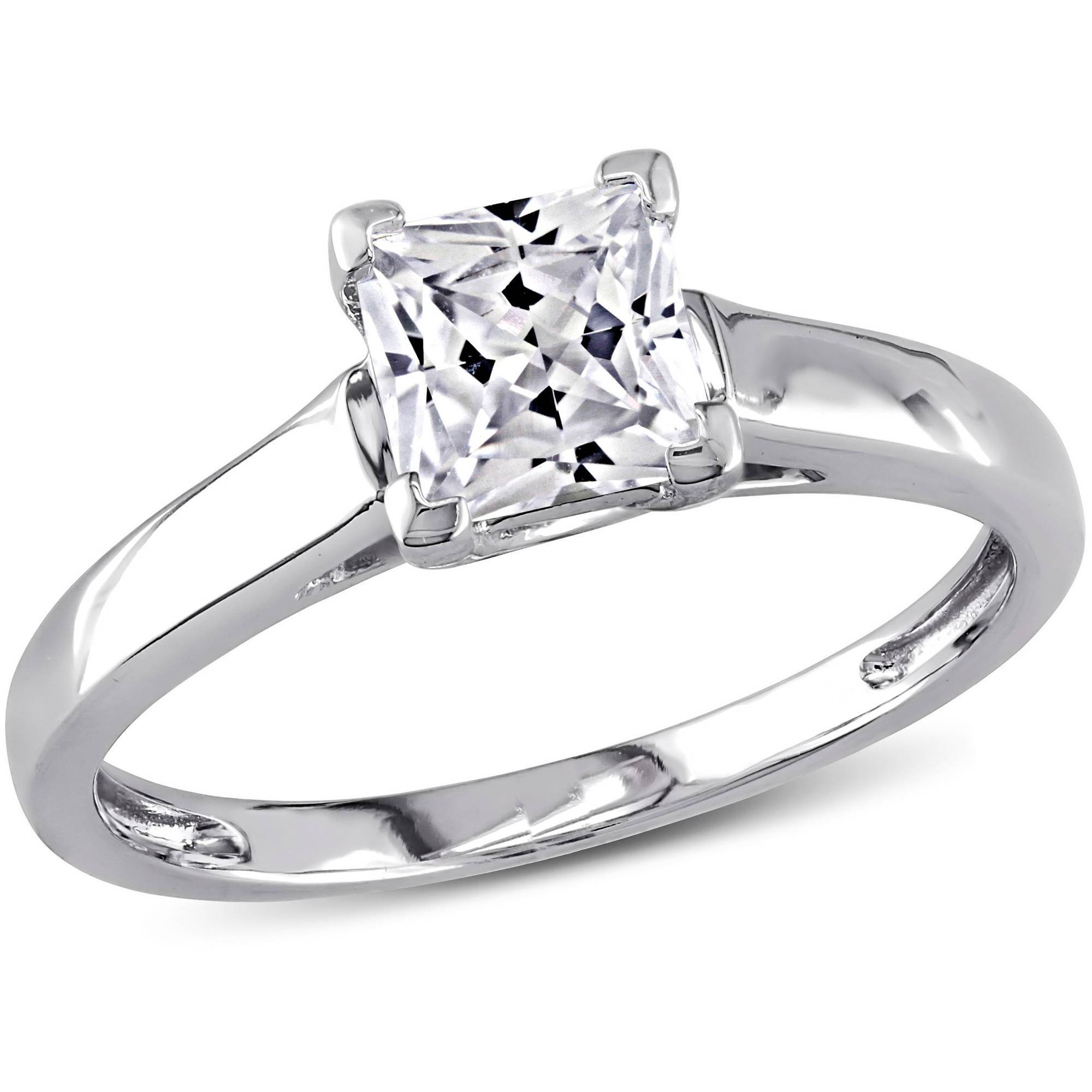 Miabella 1 Carat T.g.w. Princess Cut Created White Sapphire 10Kt Within Gold Engagement And Wedding Rings (Gallery 1 of 15)