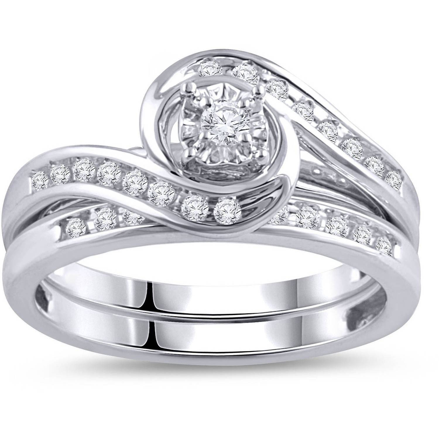 Miabella 1/10 Carat T.w. Diamond And 1 Carat T.g.w. Created White Within Walmart Engagement Rings For Men (Gallery 11 of 15)
