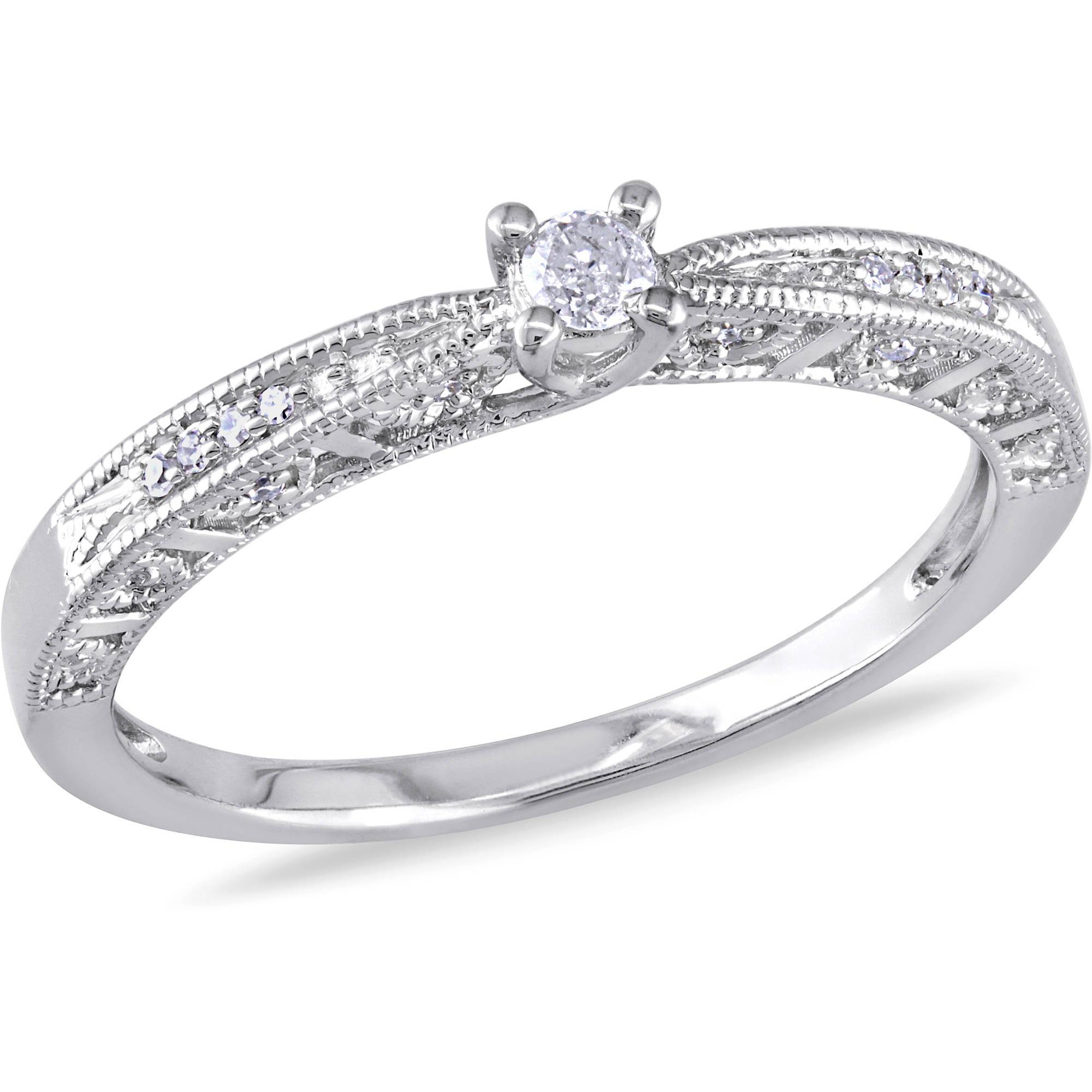 Miabella 1/10 Carat T.w. Diamond Sterling Silver Engagement Ring Pertaining To Silver Engagement Bands (Gallery 5 of 15)