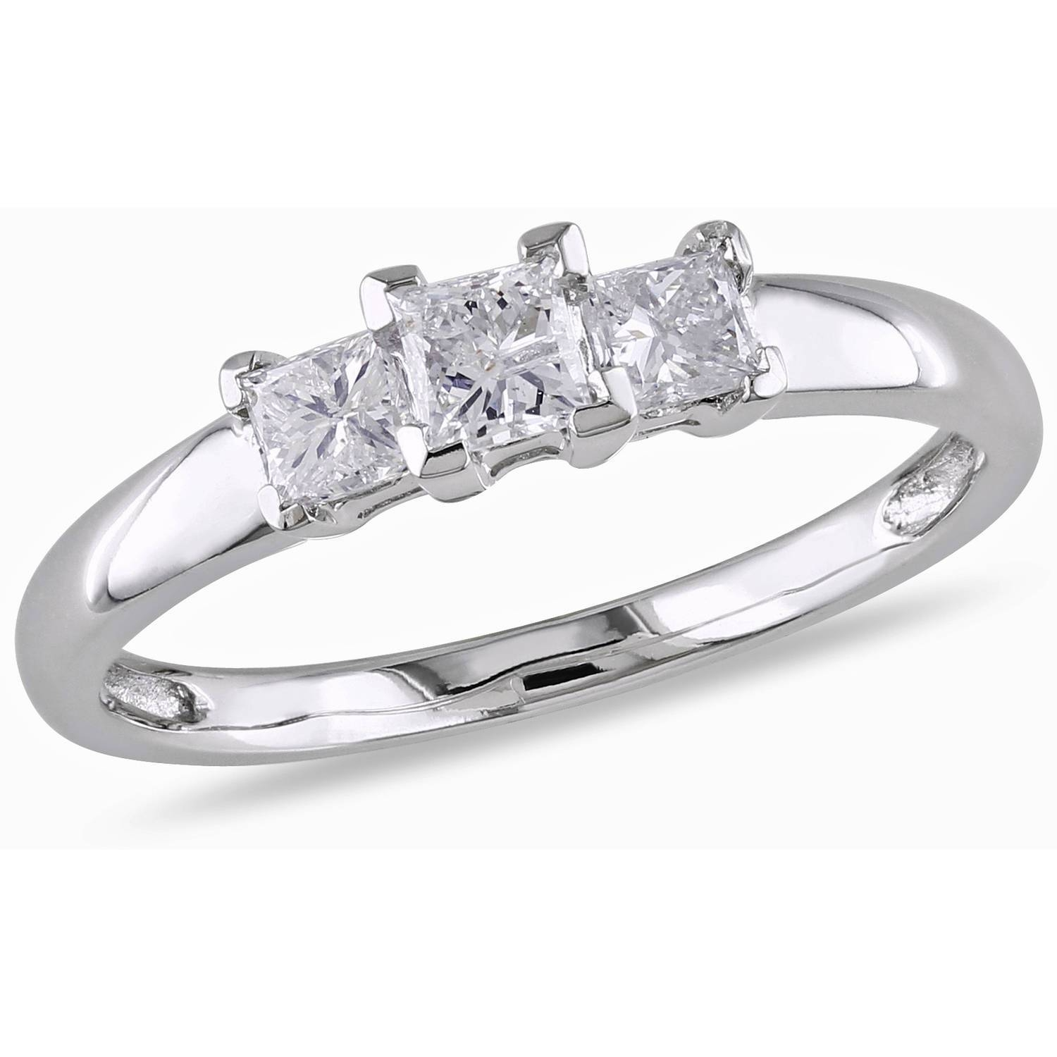 Miabella 1/2 Carat T.w. Princess Cut Certified Diamond Three Stone For Walmart Engagement Rings (Gallery 4 of 15)
