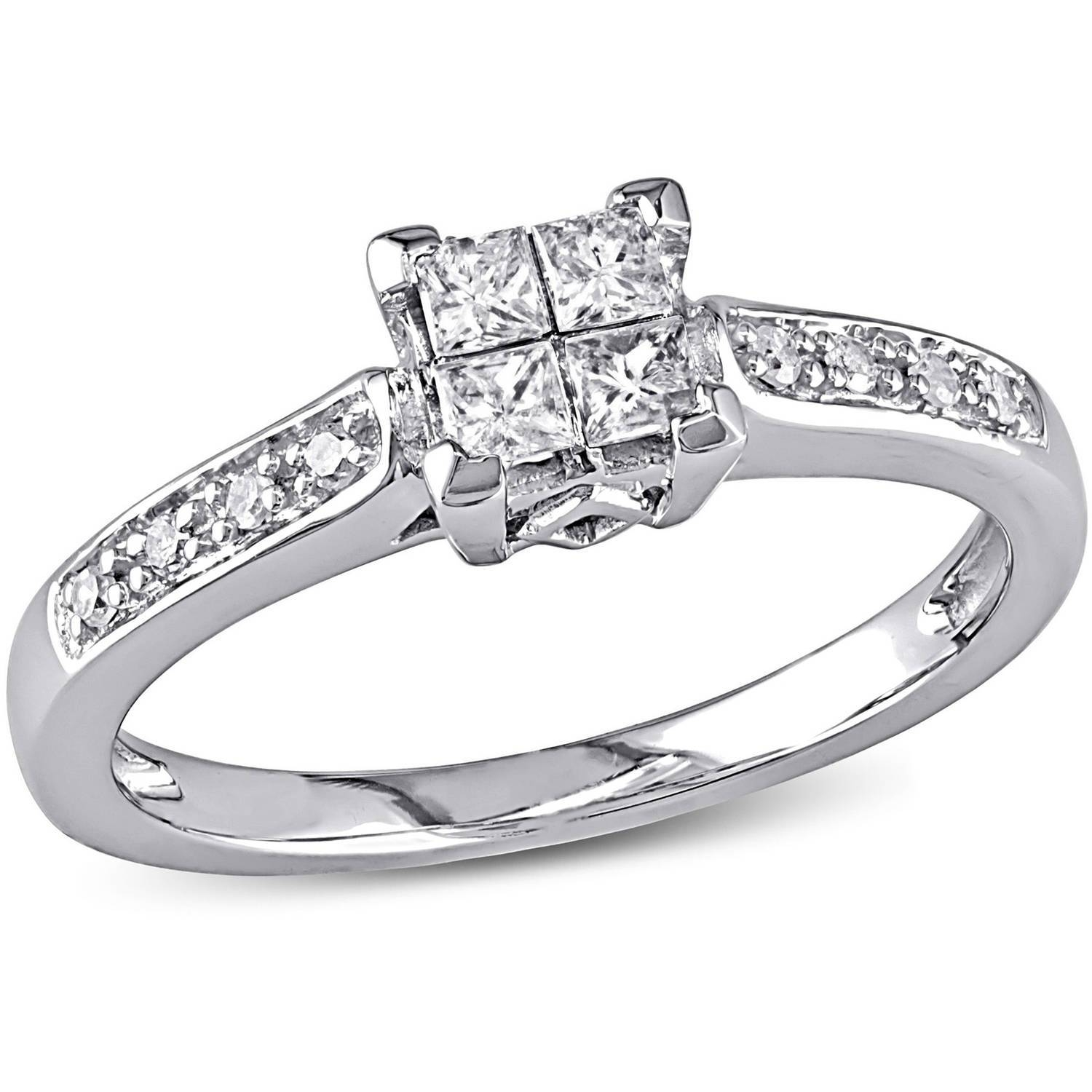Miabella 1/4 Carat T.w. Princess And Round Cut Diamond Engagement Inside Walmart Engagement Rings (Gallery 10 of 15)
