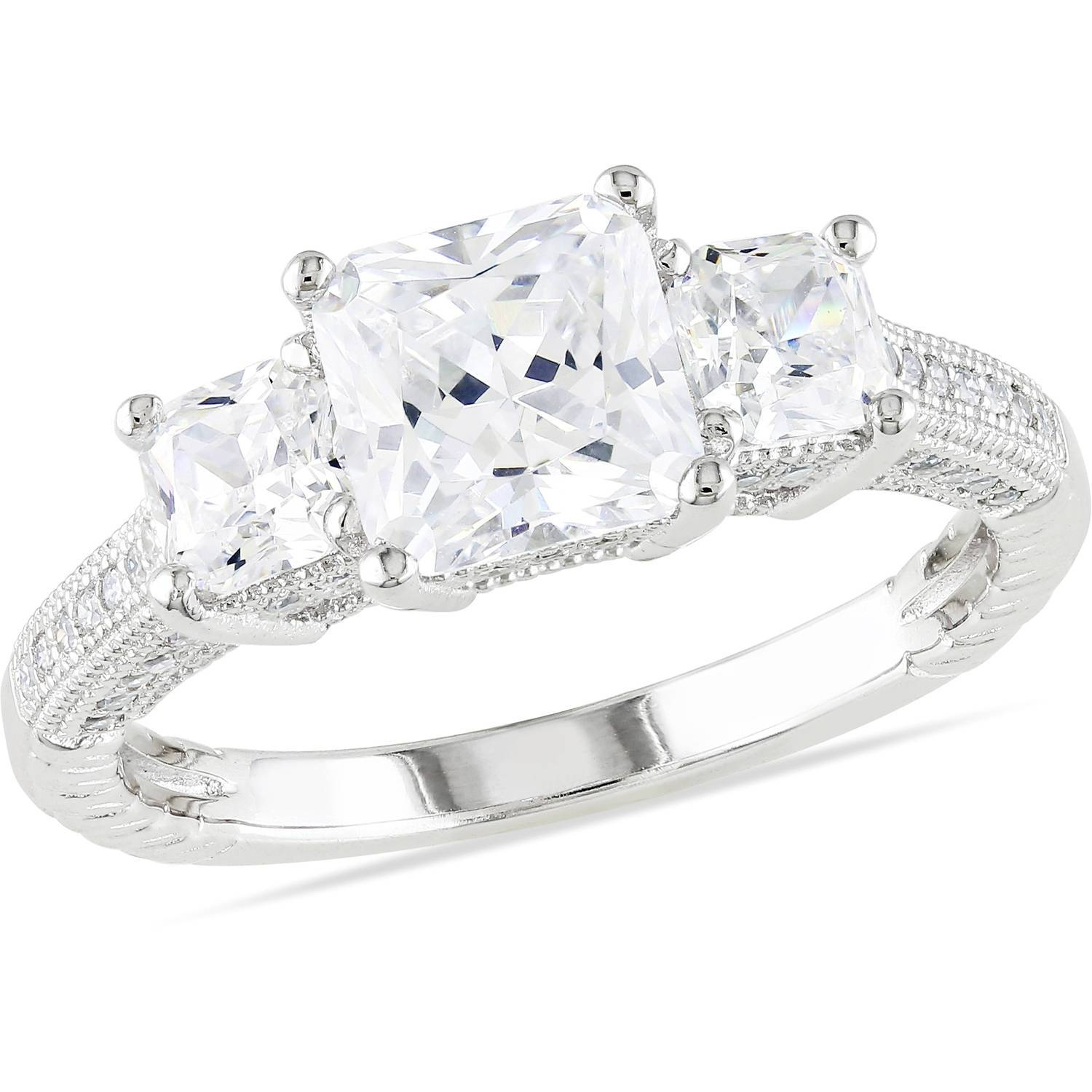 Miabella 5 1/6 Carat T.g.w. Square And Round Cut Cubic Zirconia Throughout Walmart Engagement Rings (Gallery 1 of 15)