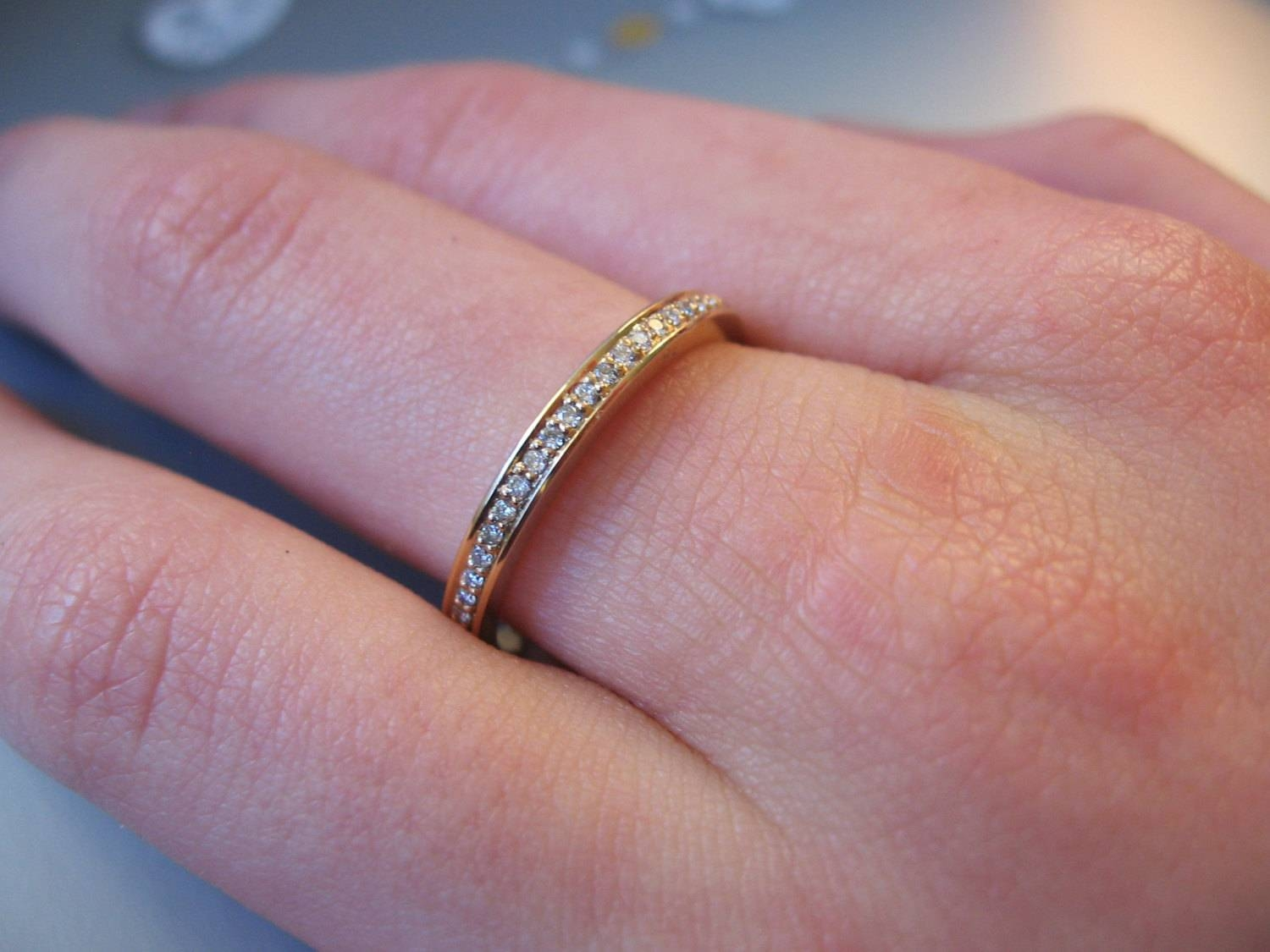 Micro Pave Diamond Eternity Ring 2Mm In 14K Gold, Handmade Diamond In Eternity Band Wedding Rings (Gallery 8 of 15)