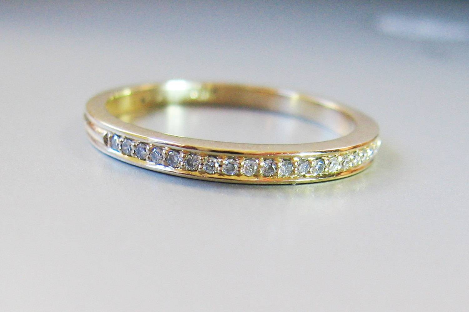 Micro Pave Diamond Eternity Ring 2Mm In 14K Gold, Handmade Diamond Intended For Small Diamond Wedding Bands (View 7 of 15)