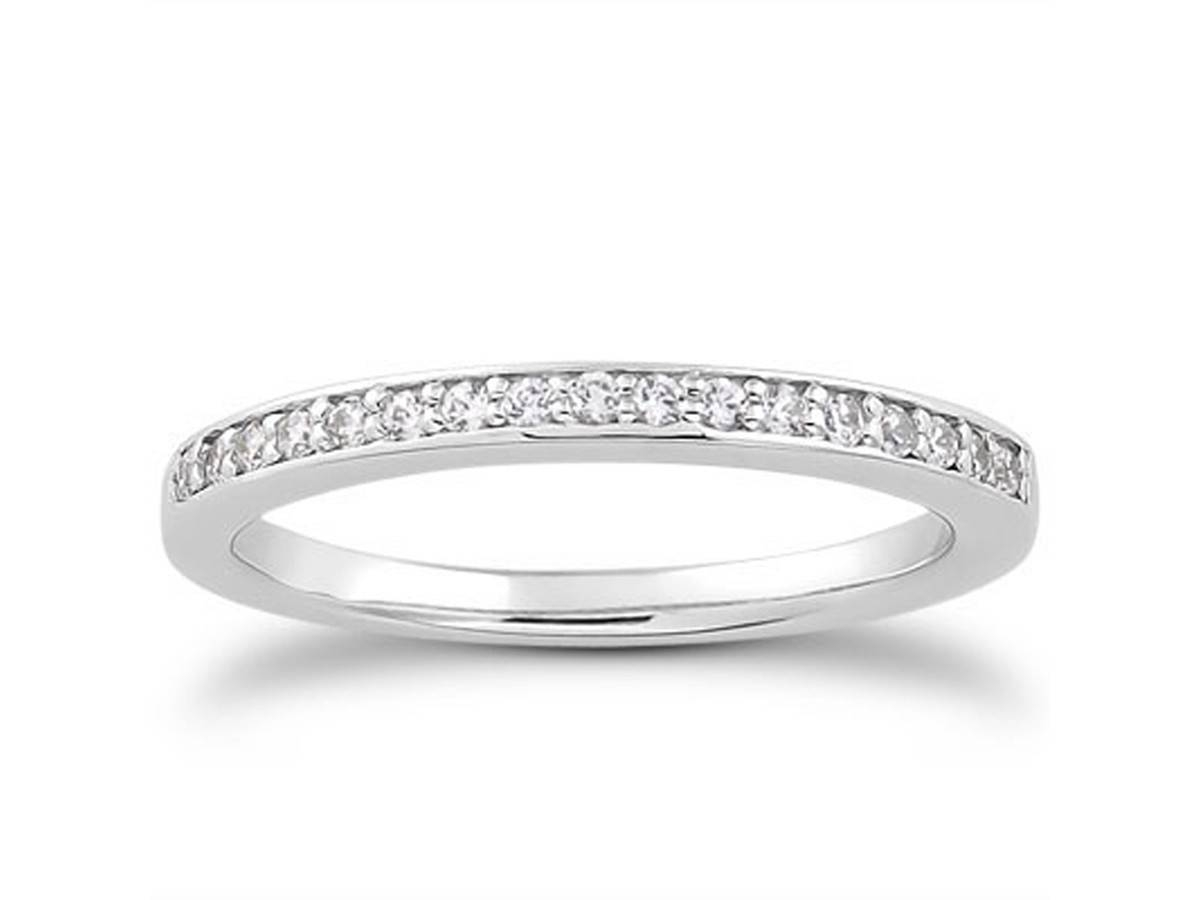Micro Pave Diamond Wedding Ring Band In 14K White Gold – Richard For Pave Wedding Rings (View 7 of 15)
