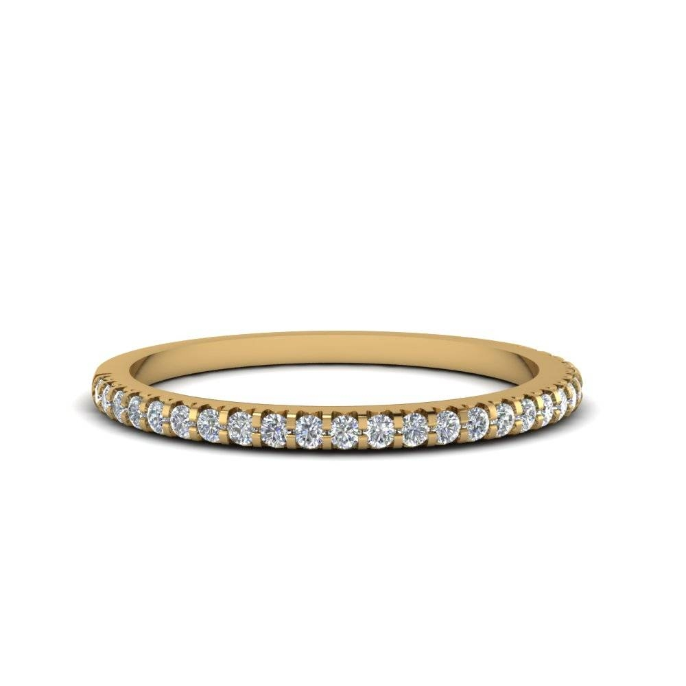 Micropave Diamond Wedding Band For Women In 14K Yellow Gold Throughout Skinny Diamond Wedding Bands (View 9 of 15)