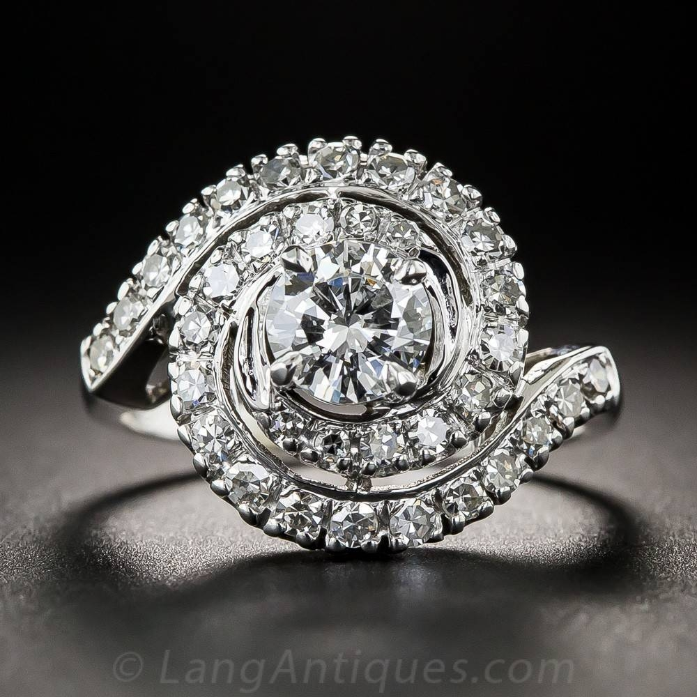 Mid Century Spiral Diamond Ring In Spiral Engagement Rings (View 2 of 15)