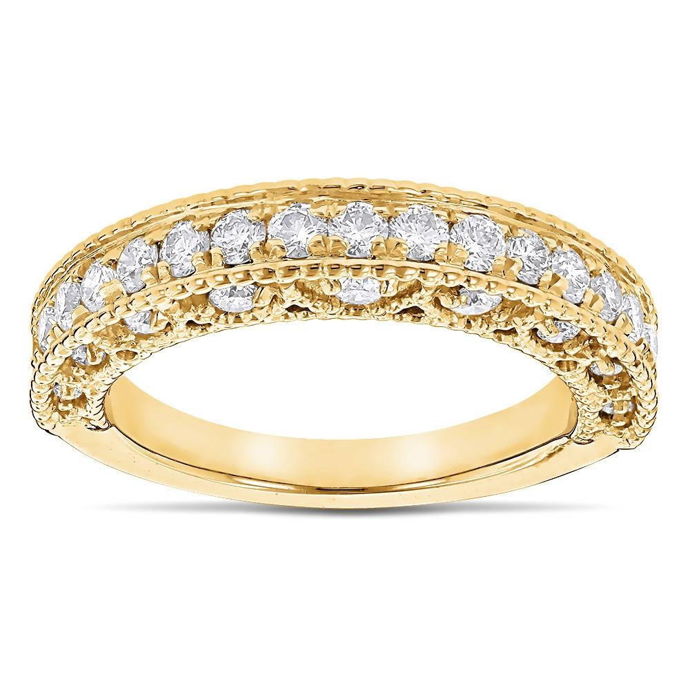 Milgrain & Filigree Designer Diamond Wedding Band For Her  (View 10 of 15)