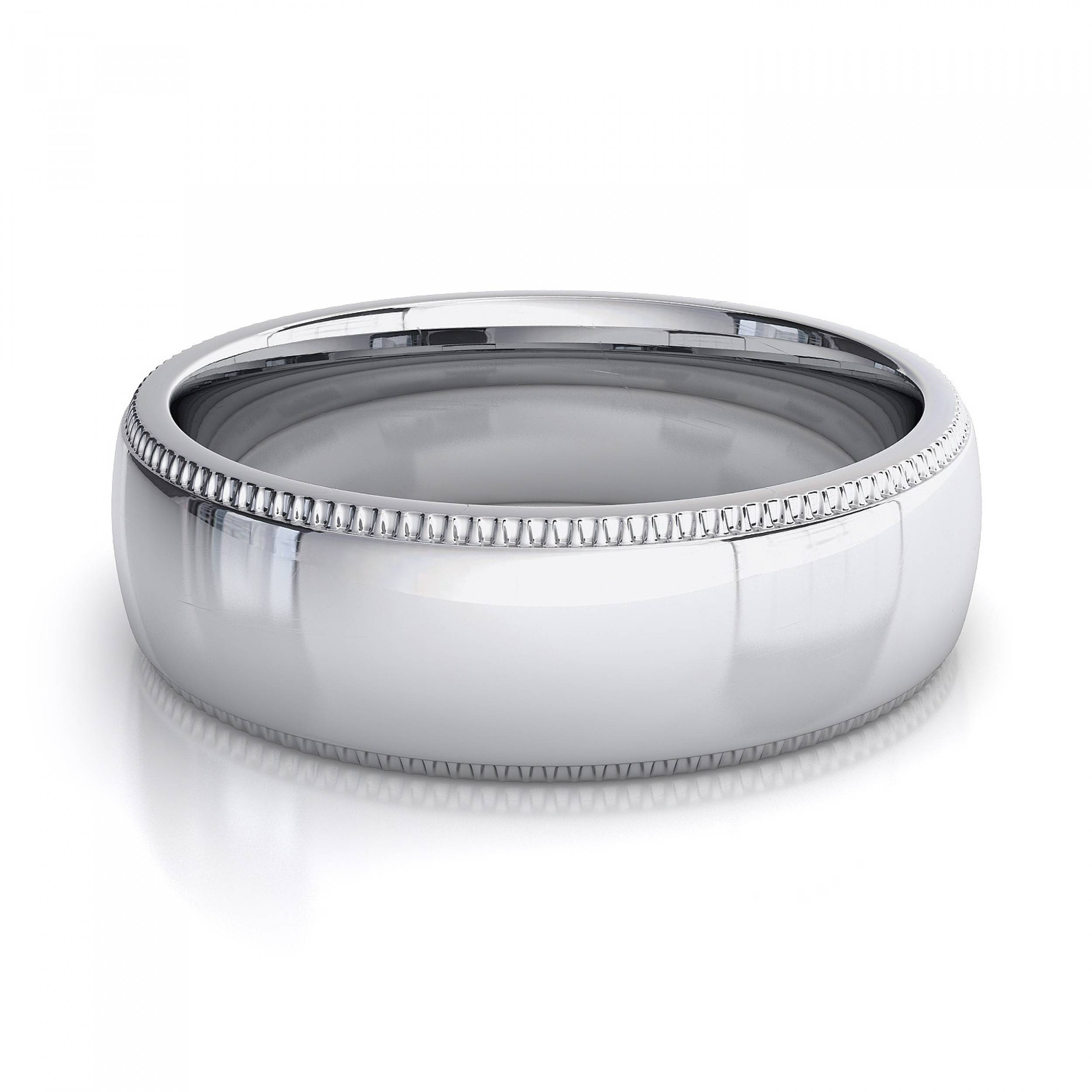 Milgrain Mens Plain Wedding Band In 18K White Gold Intended For White Gold Male Wedding Bands (View 12 of 15)