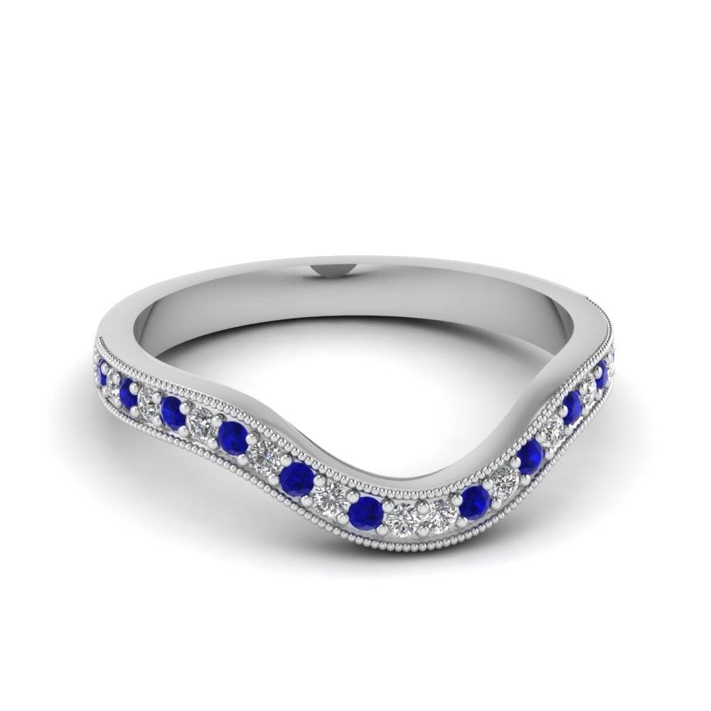 Milgrain Pave Curved Diamond Womens Wedding Band With Blue With Regard To Sapphire Wedding Rings For Women (View 4 of 15)