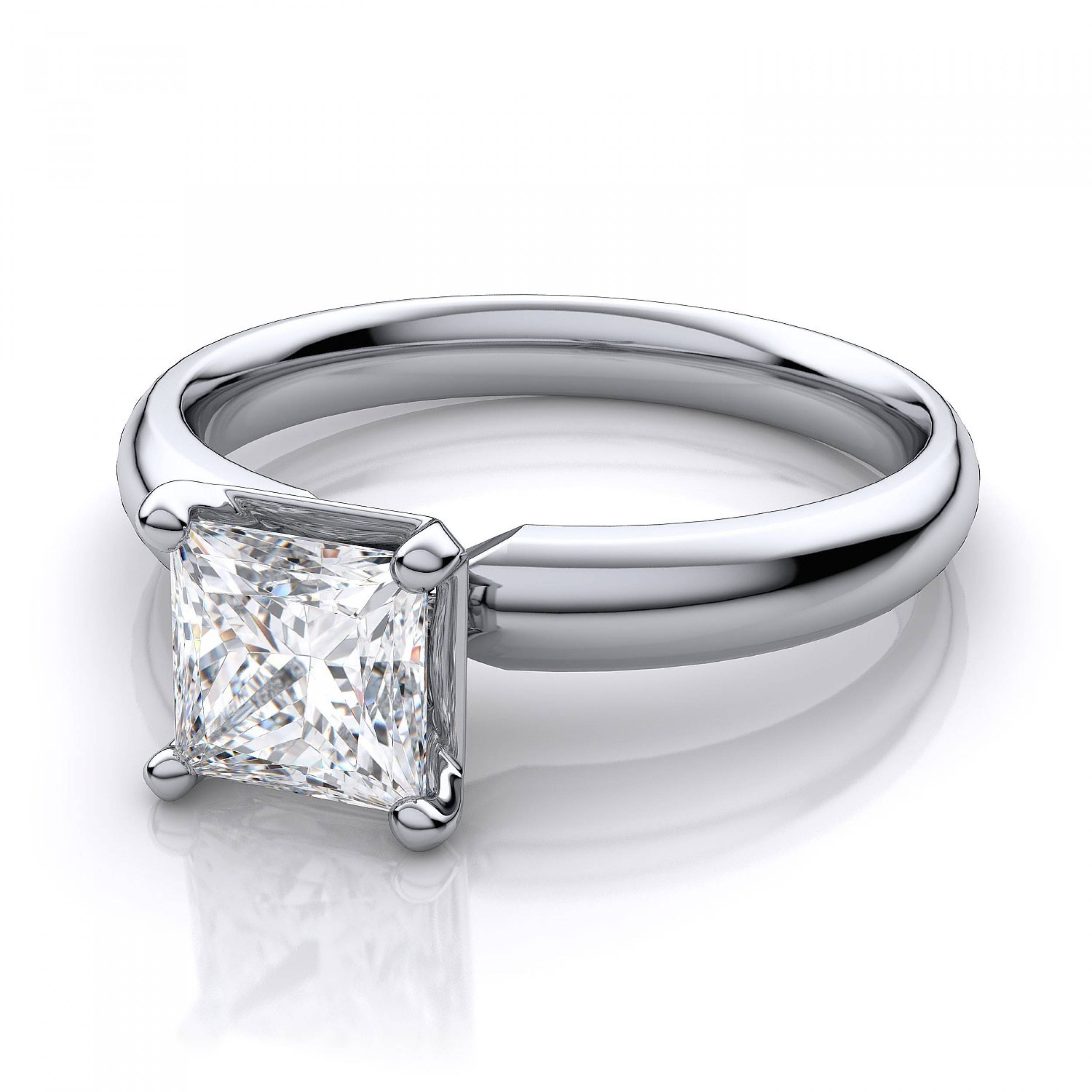 Mm Princess Cut Solitaire Diamond Ring Setting – 14k White Gold Regarding Diamond Wedding Rings Settings (View 6 of 15)