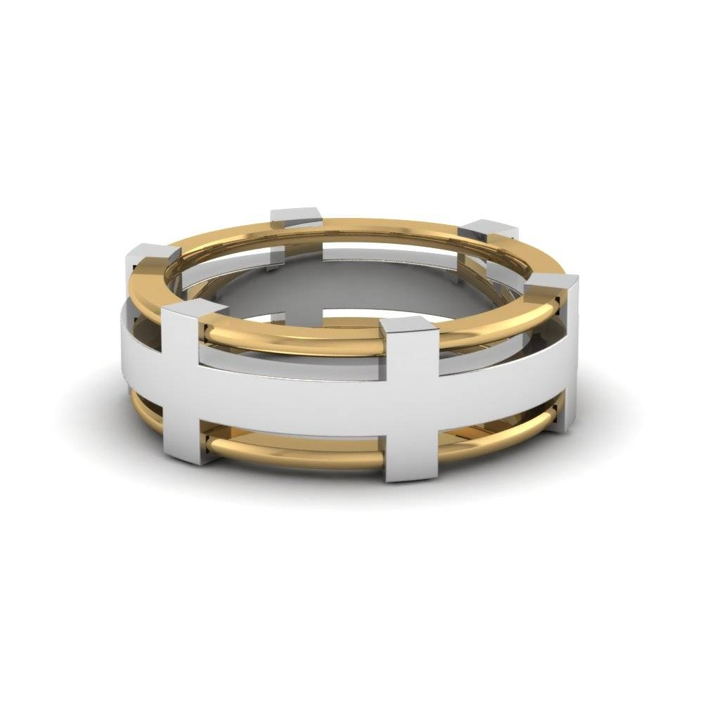 Modern 2 Tone Mens Diamond Band In 14K White Gold | Fascinating Pertaining To Two Tone Wedding Bands For Him (View 12 of 15)