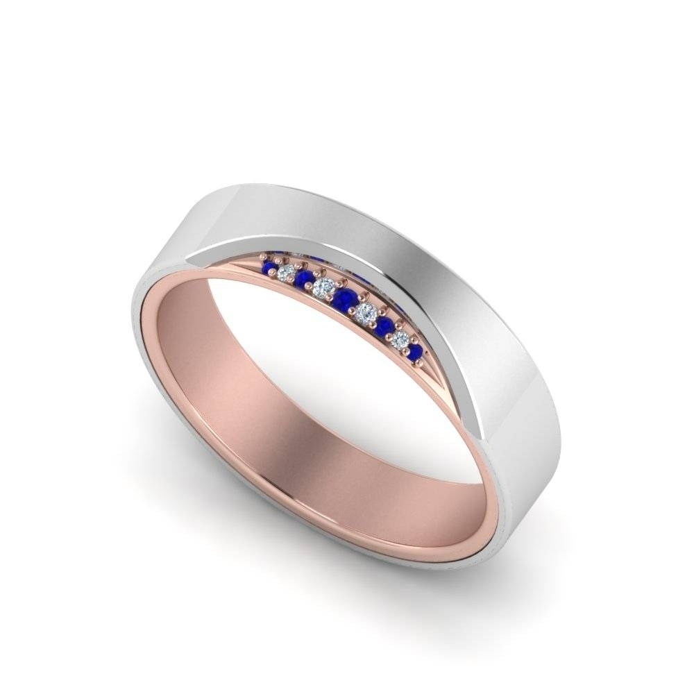 Modern 2 Tone Mens Diamond Band With Blue Sapphire In 14K White With Men's Blue Sapphire Wedding Bands (View 10 of 15)