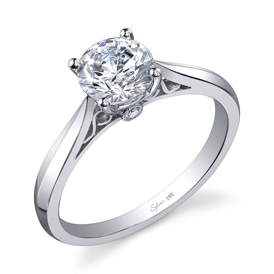 Modern Round Center Peekaboo Bezel Diamond Engagement Ring With Modern Vintage Wedding Rings (View 7 of 15)