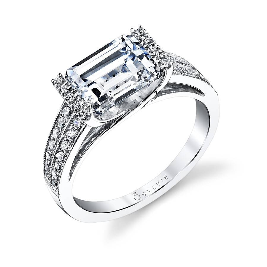 Modern West East Emerald Diamond Engagement Ring | Diamond Pertaining To Modern Diamond Wedding Rings (View 10 of 15)