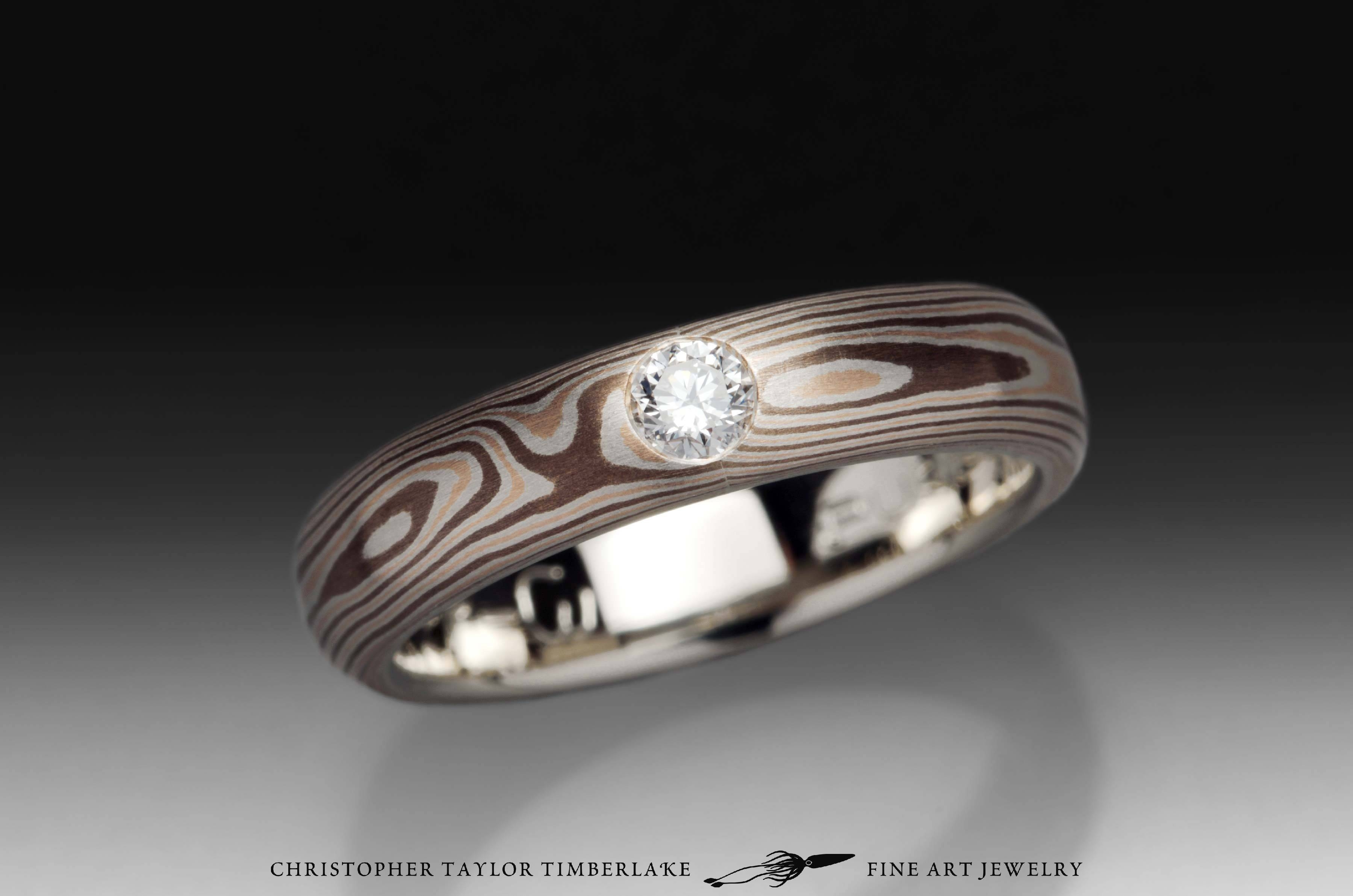 Mokumé Gane 14k Rose Gold, Palladium Sterling Silver, And Shakudo Intended For Mokume Gane Engagement Rings (View 5 of 15)