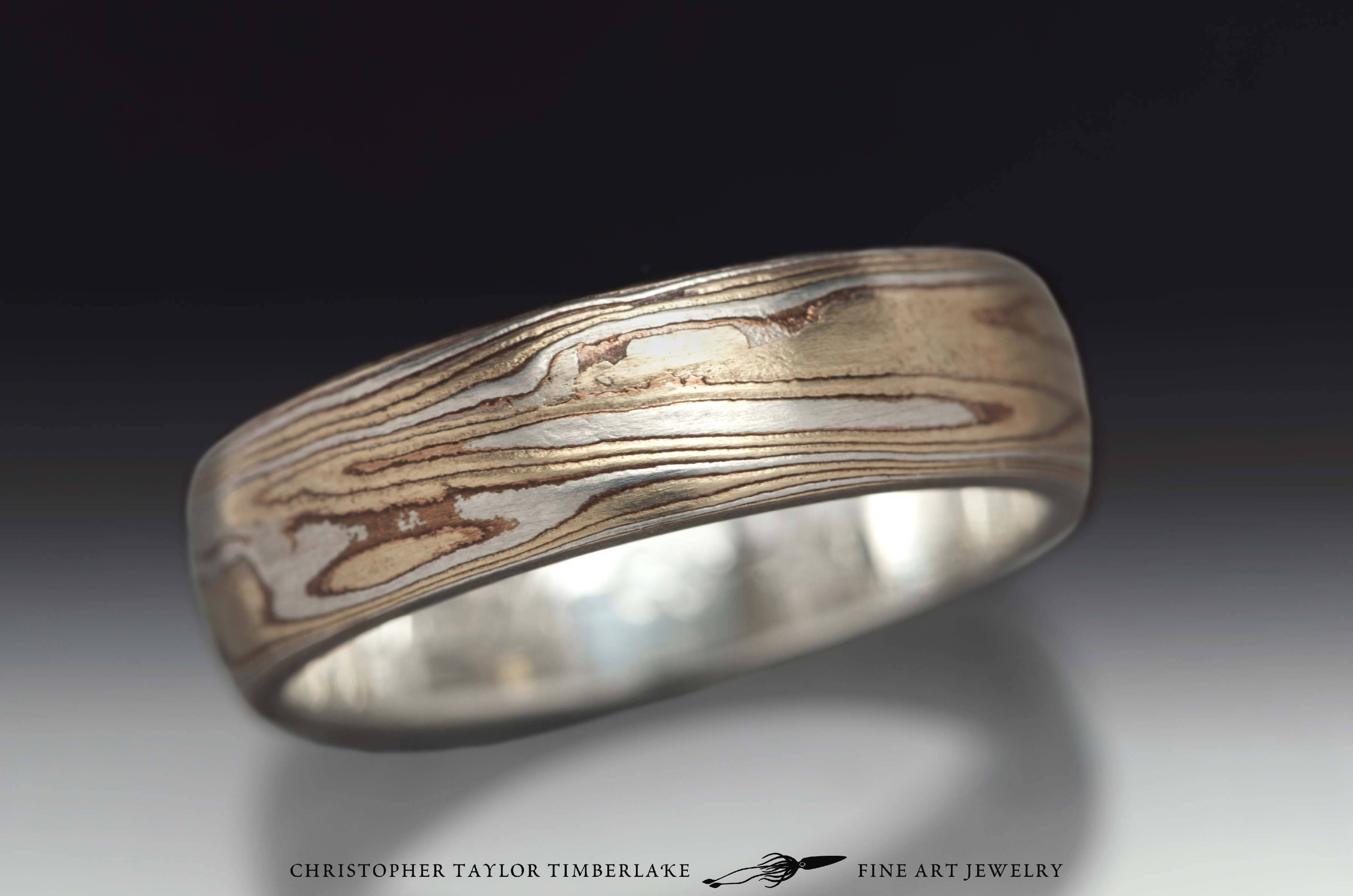 Mokume Gane Etched Sterling Silver, Shakudo, Kogane Ring With Mokume Engagement Rings (View 10 of 15)
