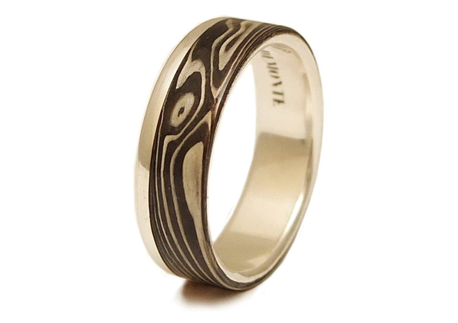 Mokume Gane Ring Shakudo Shibuichi Kuro Shibuichi For Mokume Wedding Bands (View 7 of 15)