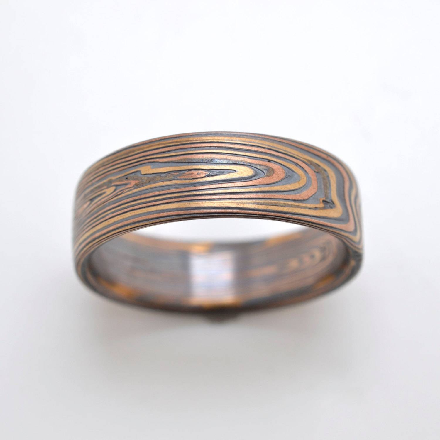 Mokume Vortex Band In Oxidized Flame Intended For Mokume Wedding Bands (View 7 of 15)