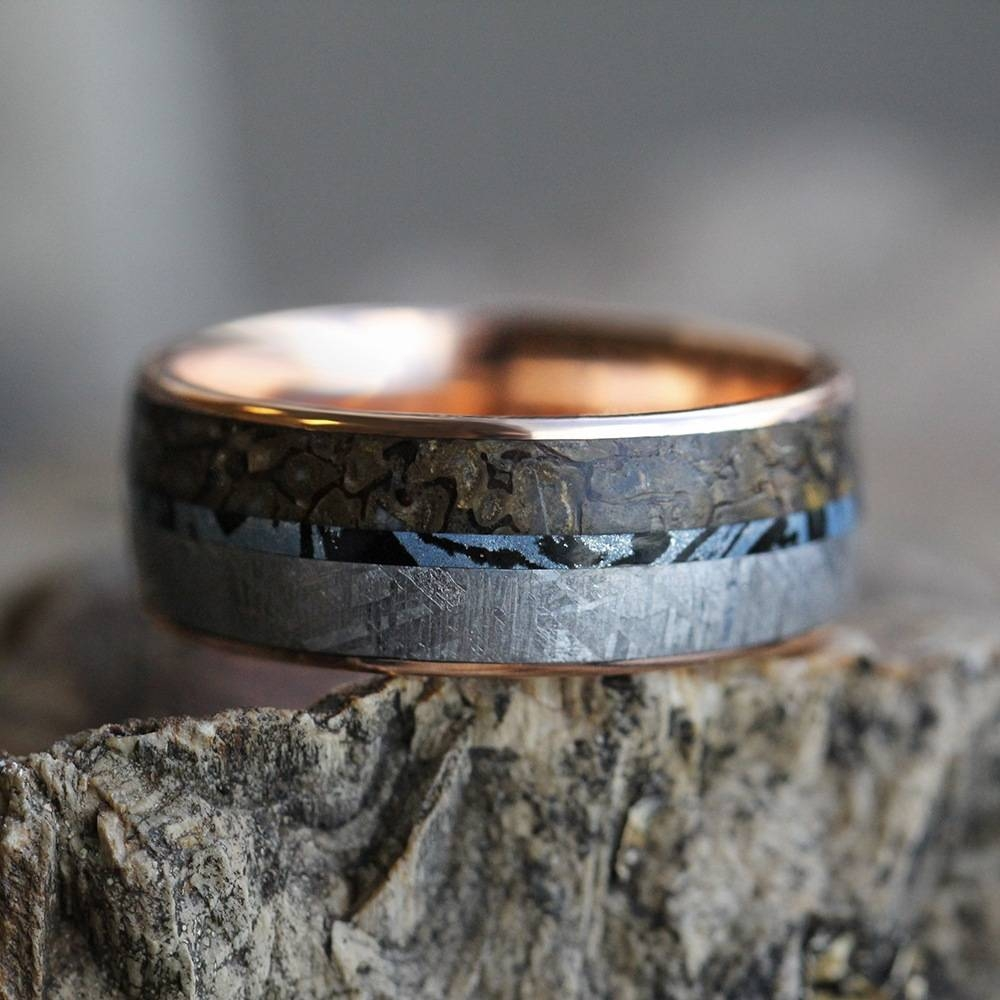 Mokume Wedding Band In 14K Rose Gold With Meteorite And Dino Regarding Mokume Wedding Bands (View 15 of 15)