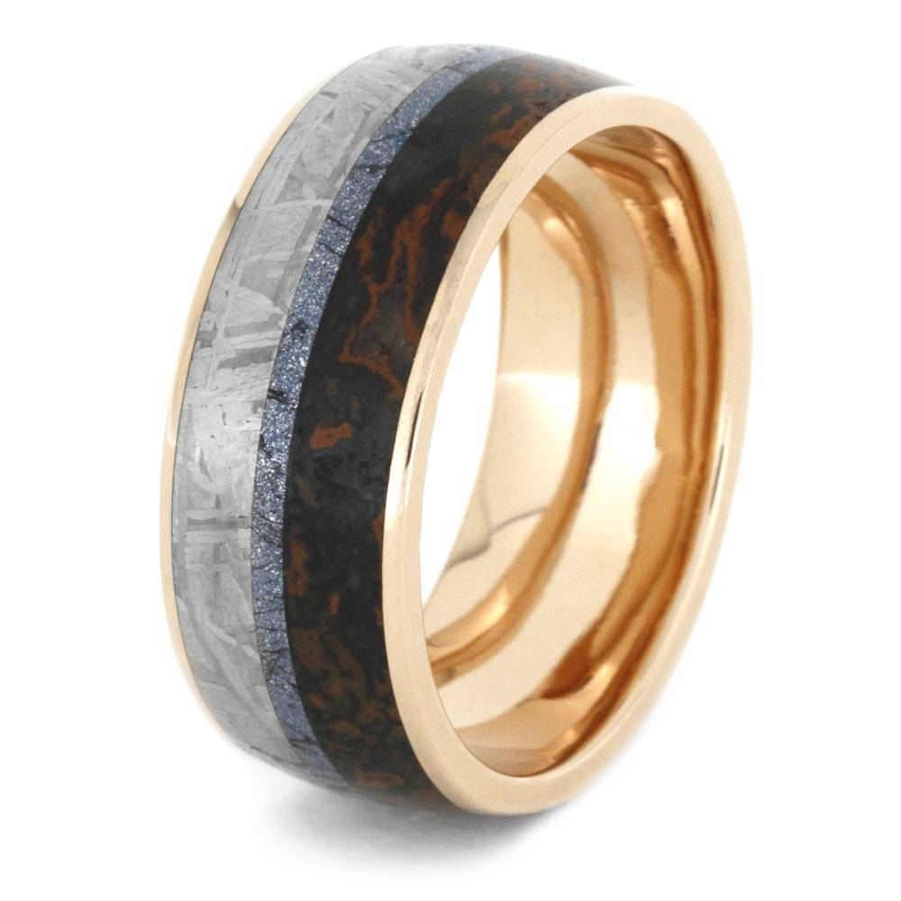 Mokume Wedding Band In 14K Rose Gold With Meteorite And Dino Regarding Mokume Wedding Bands (View 14 of 15)