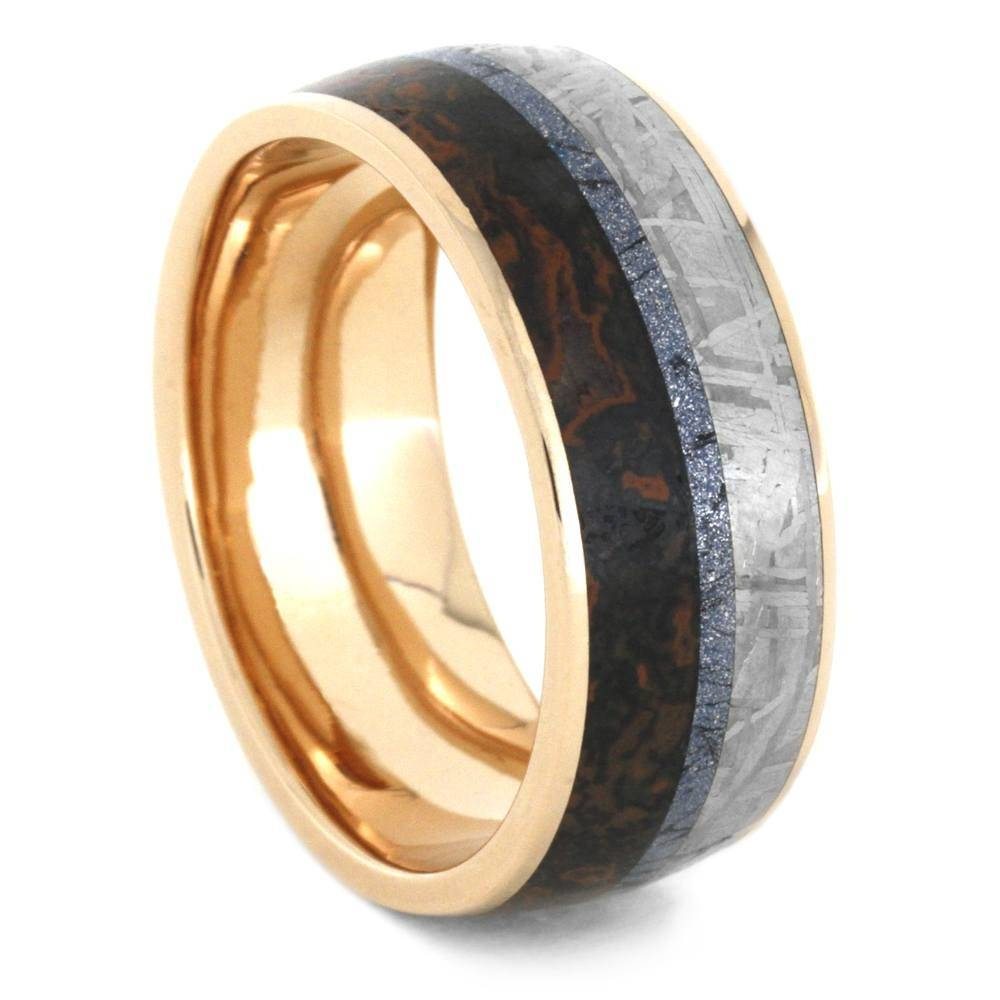 Mokume Wedding Band In 14K Rose Gold With Meteorite And Dino Throughout Mokume Mens Wedding Bands (View 14 of 15)
