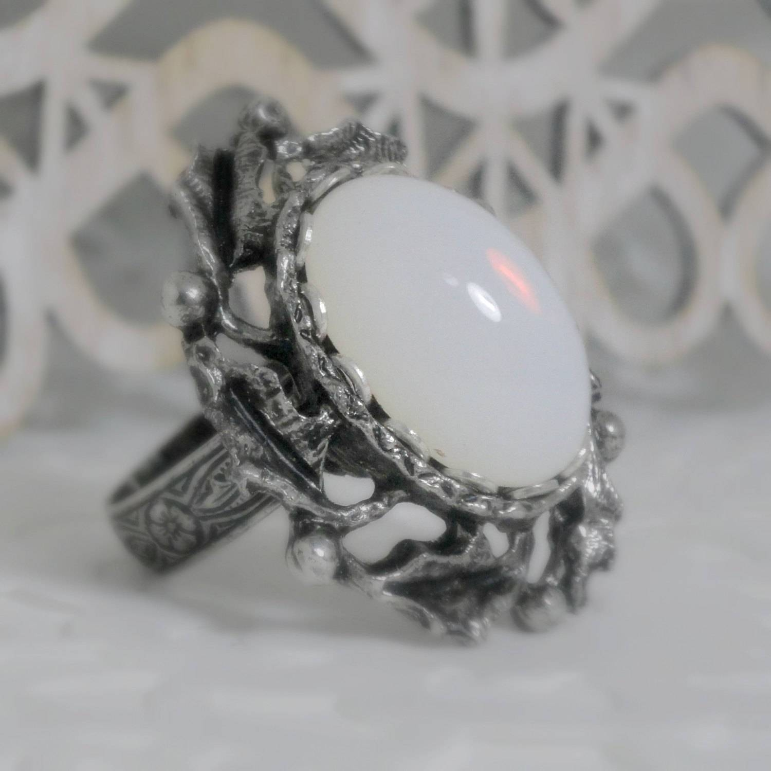 Moonstone Ring Wiccan Jewelry Pagan Jewelry Wicca For Pagan Engagement Rings (View 11 of 15)