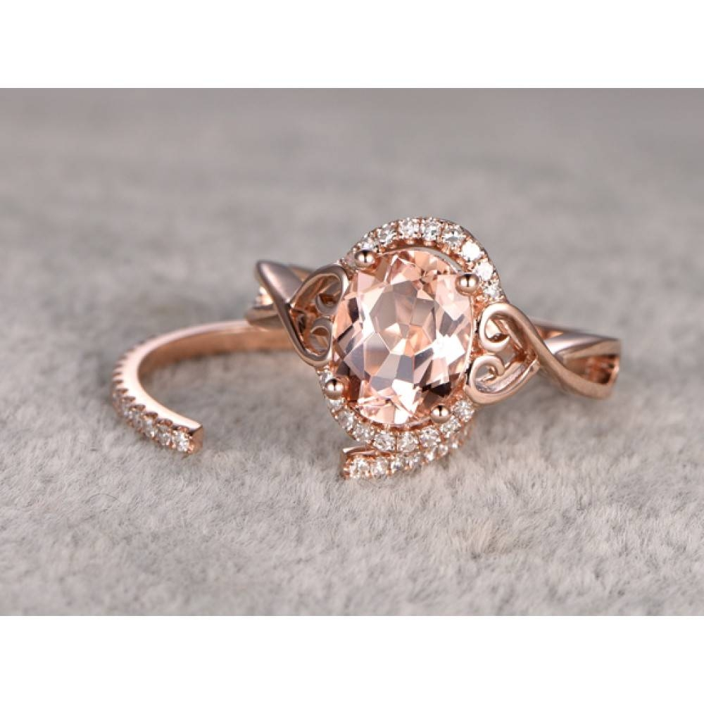 Morganite Engagement Ring Rose Gold Halo Ring Open Gap Diamond Throughout Oval Wedding Rings Sets (View 10 of 15)