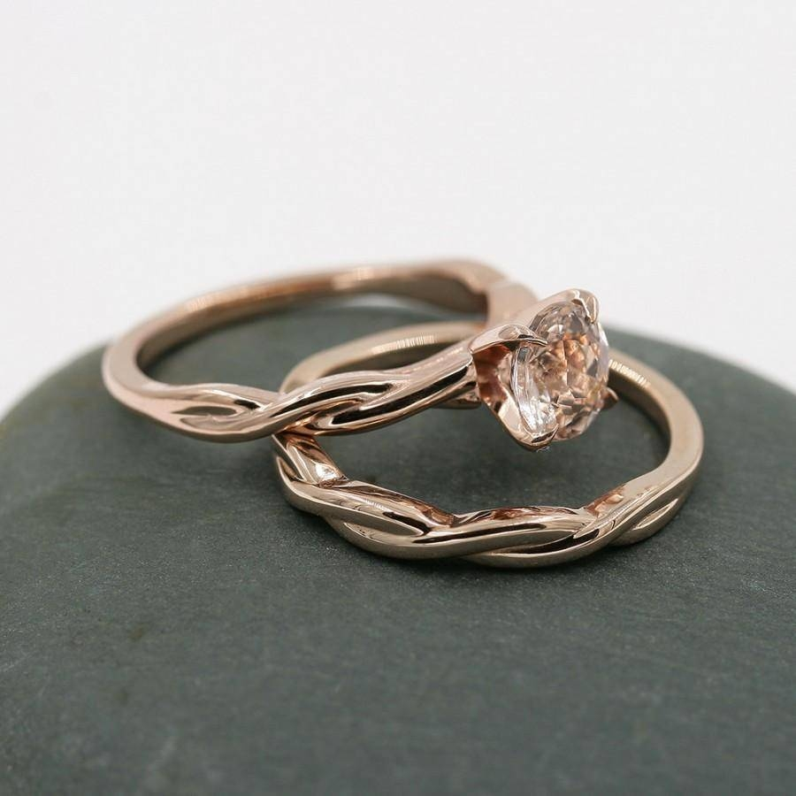 Morganite Engagement Ring,14K Rose Gold Ring,14K Engagement Ring With Wedding Bands For Twisted Engagement Rings (View 8 of 15)
