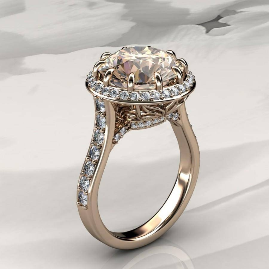 Morganite Halo Engagement Ring With Diamonds In Rose Gold, Halo Pertaining To White And Yellow Gold Wedding Rings (Gallery 15 of 15)
