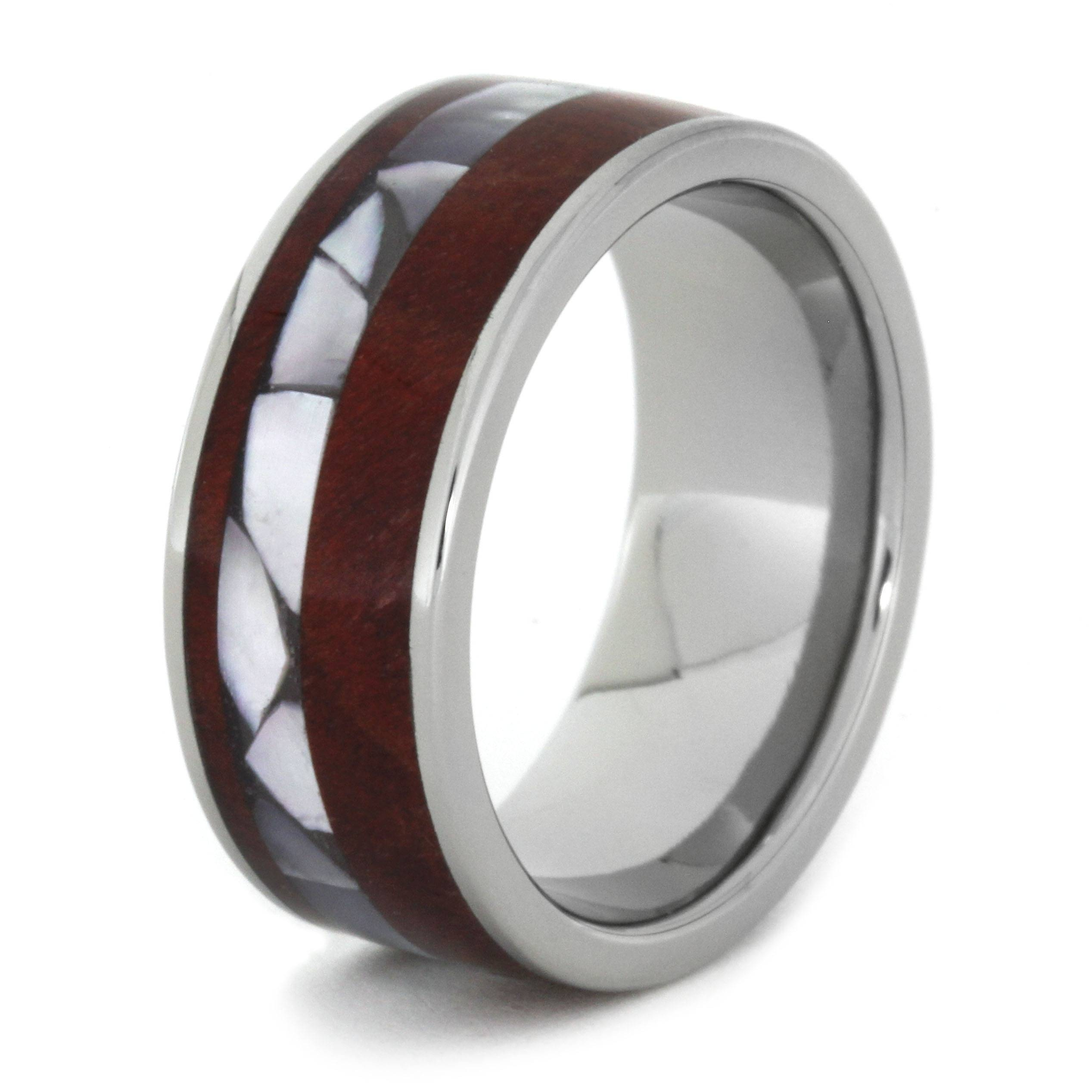 Mother Of Pearl Ring With Ruby Redwood In A Titanium Band Intended For Mother Of Pearl Wedding Bands (View 5 of 15)