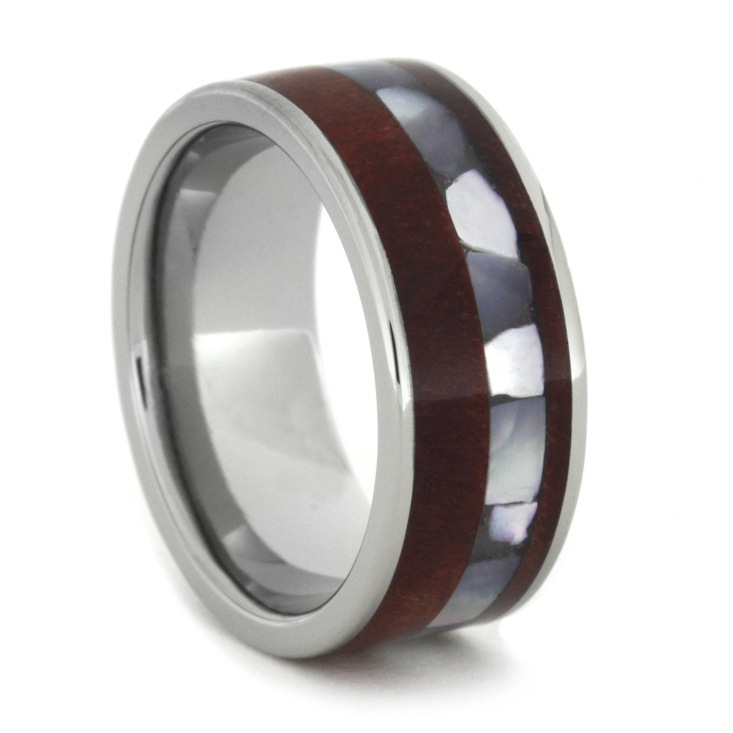 Mother Of Pearl Ring With Ruby Redwood In A Titanium Band Within Mother Of Pearl Wedding Bands (View 6 of 15)