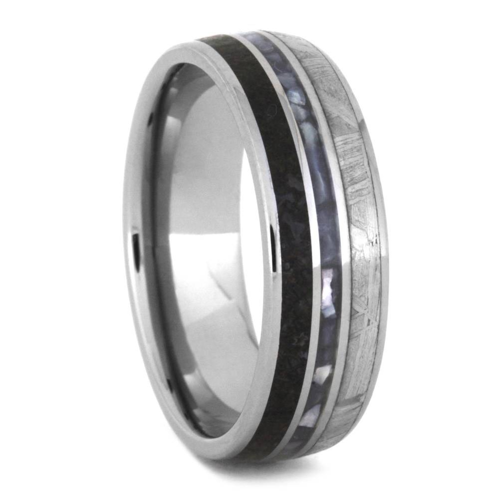 Mother Of Pearl Wedding Band, Meteorite Ring With Dinosaur Bone In Men's Wedding Bands Meteorite (View 14 of 15)