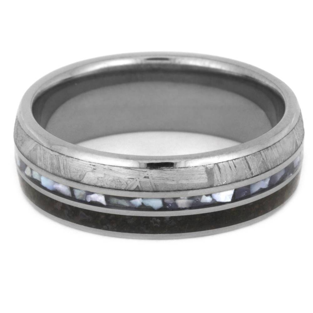 Mother Of Pearl Wedding Band, Meteorite Ring With Dinosaur Bone Pertaining To Mother Of Pearl Wedding Bands (View 8 of 15)