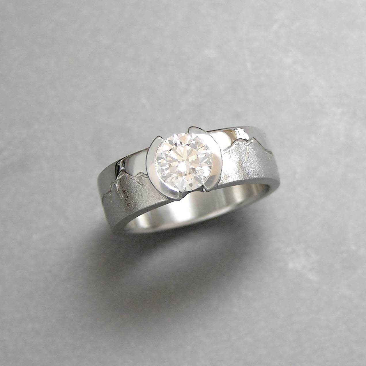 Mountain Wedding Rings In Boulder | Range Rings | Cronin Jewelry Within Inset Engagement Rings (View 10 of 15)