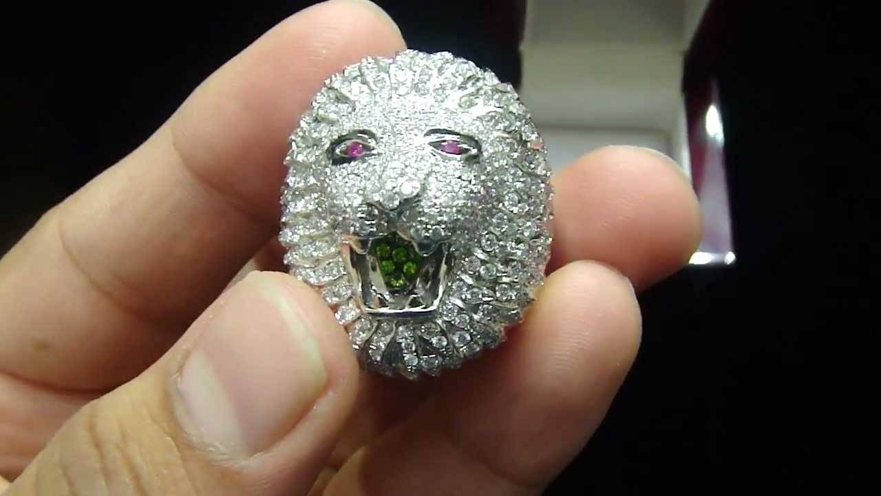 Mr Chris Da Jeweler Custom Real Gold Real Diamond Lion Head Ring Intended For Lion Engagement Rings (View 11 of 15)