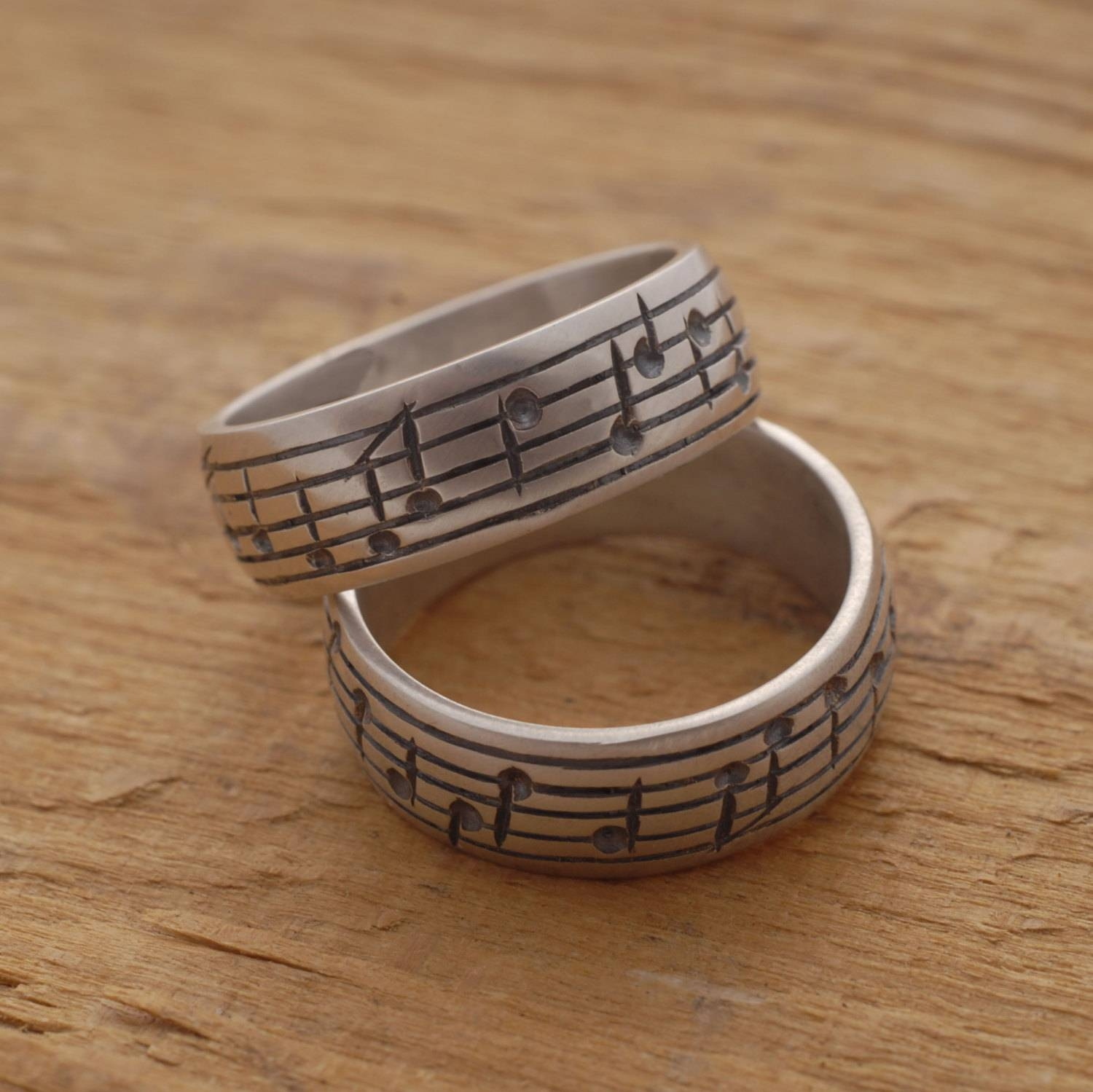Music Note Wedding Ring Set His And Her Sterling Silver Regarding Music Wedding Rings (View 7 of 15)