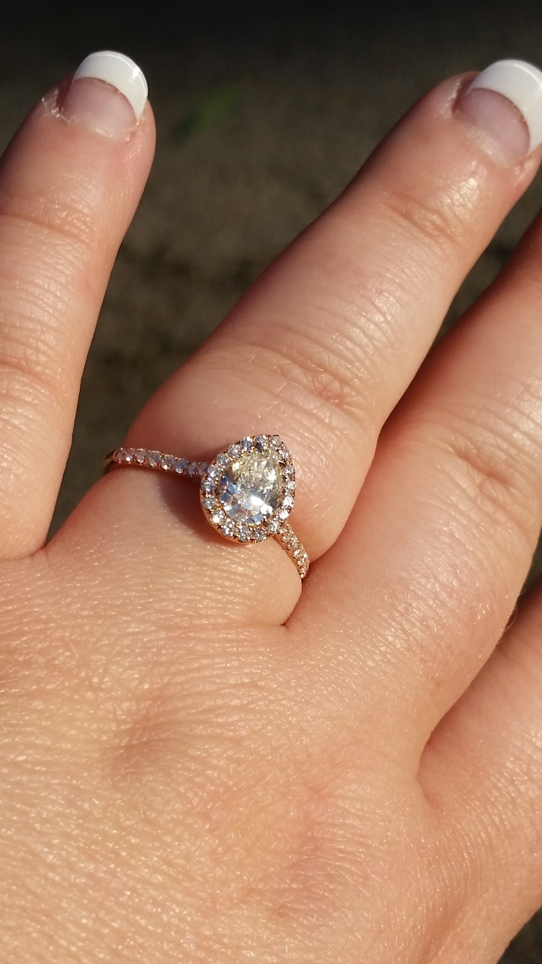 My Pear Halo Engagement Ring!!! Show Me Yours! – Weddingbee Intended For Pear Shaped Engagement Rings And Wedding Bands (View 9 of 15)