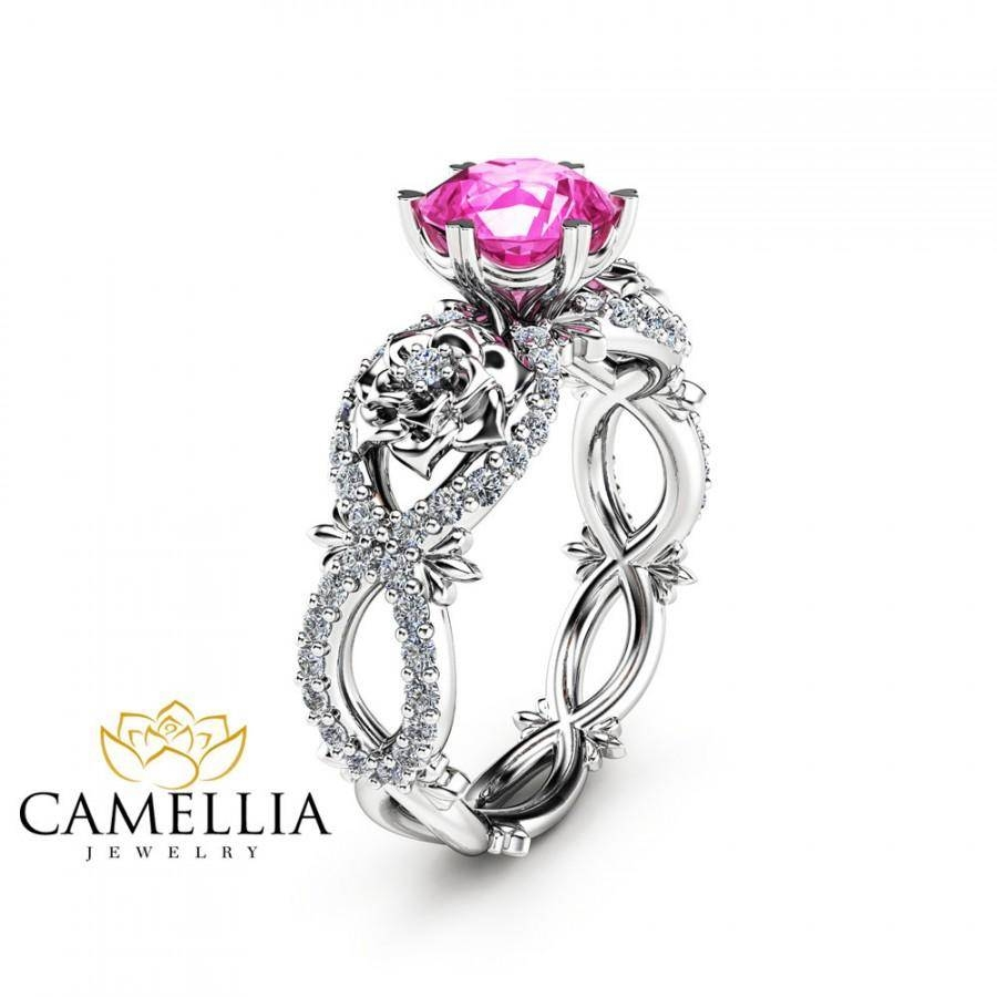 Natural Pink Sapphire Engagement Ring In 14K White Gold Unique For Pink Sapphire Engagement Rings (Gallery 5 of 15)