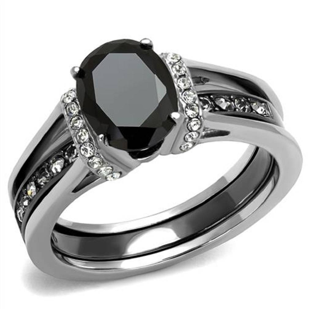 New 2 Piece Stainless Steel Two Toned Onyx Black Cz Wedding Ring In Black Onyx Wedding Bands (View 7 of 15)