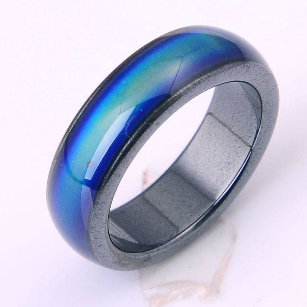 New Natural Magnetic Mood Rings Multicolored 6Mm Wide Hematite With Regard To Hematite Wedding Bands (View 7 of 15)