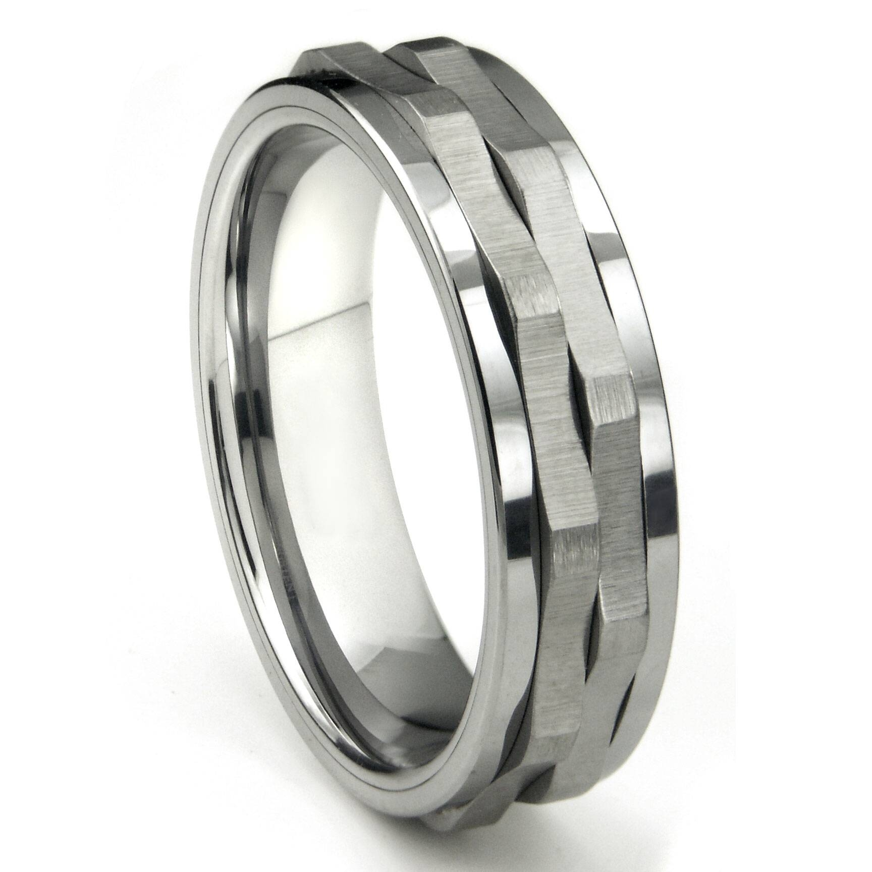 Ninja Star Tungsten Carbide Spinning Wedding Band Ring In Men's Spinner Wedding Bands (View 1 of 15)