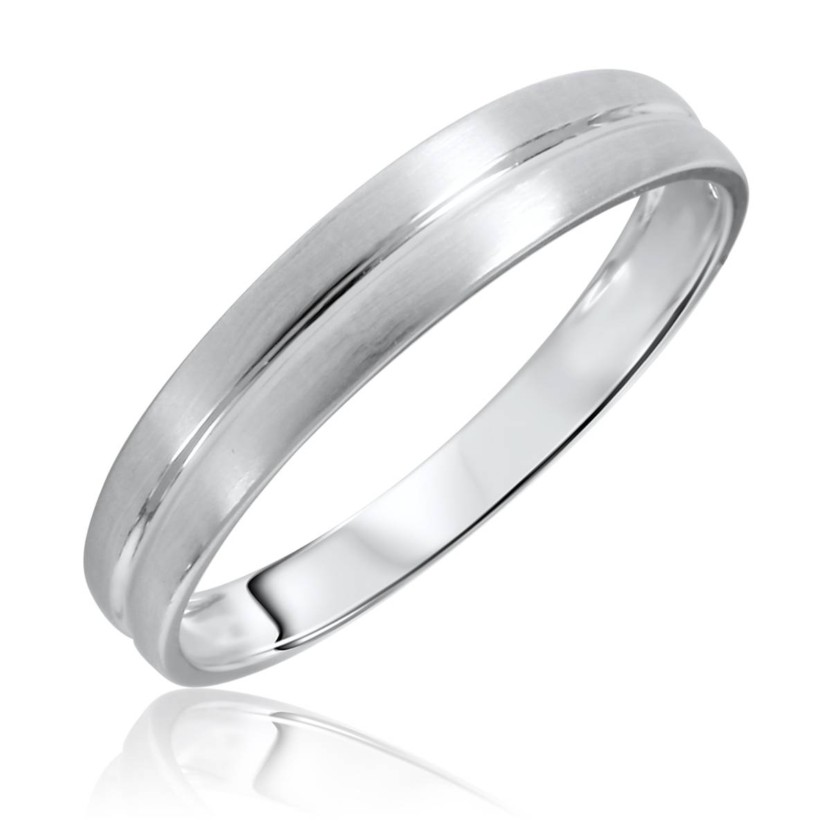 No Diamondstraditional Mens Wedding Band 14K White Gold Regarding White Gold Mens Wedding Rings (View 11 of 15)