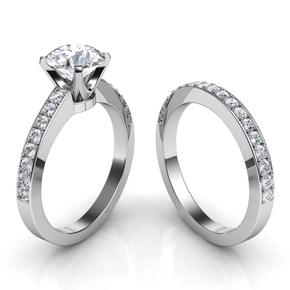 Novo Engagement Ring & Matching Wedding Band Bridal Set Inside Engagement Rings And Wedding Band Set (Gallery 1 of 15)