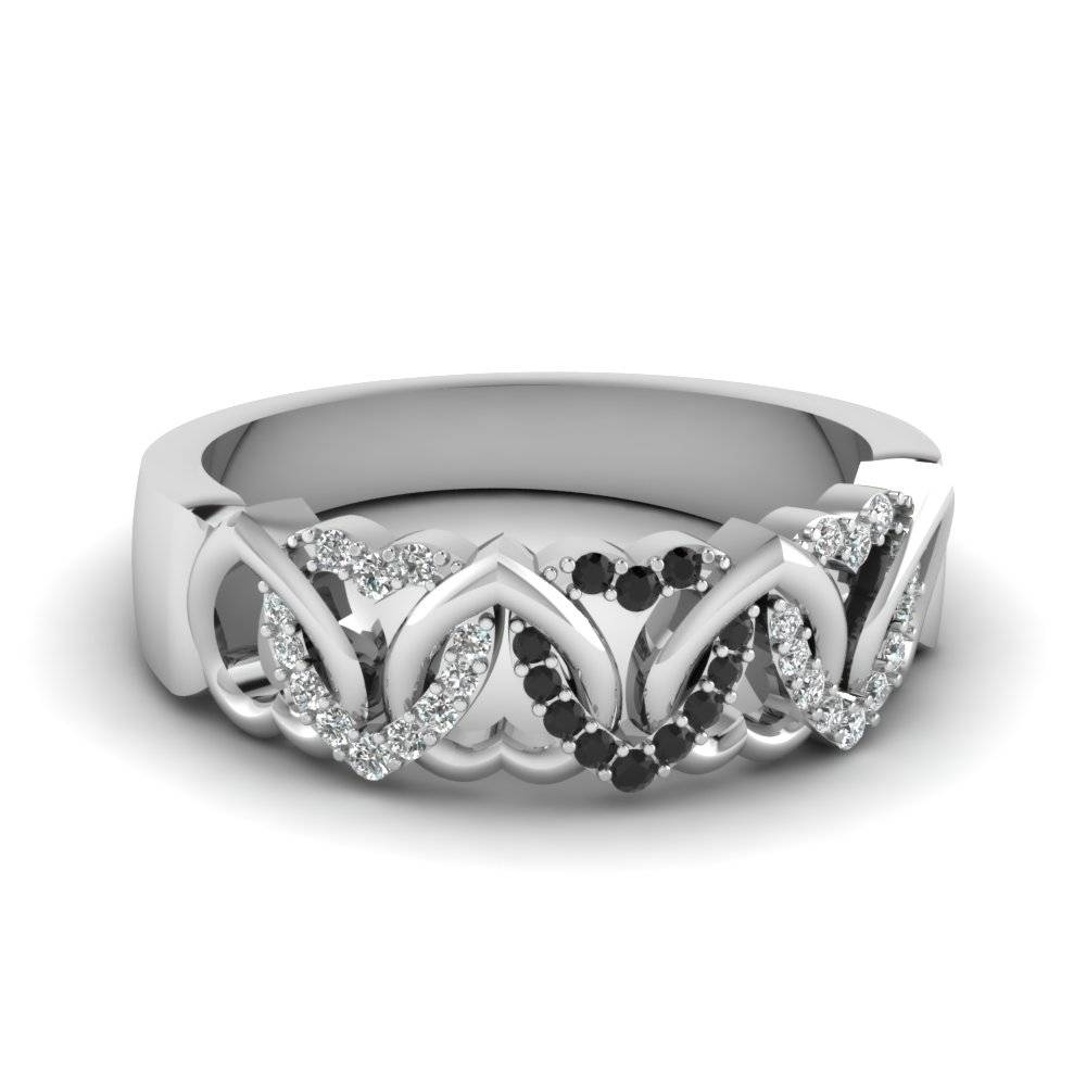 O X Design Diamond With Emerald Wedding Band In 14k White Gold For Black Diamond Wedding Bands For Her (View 9 of 15)